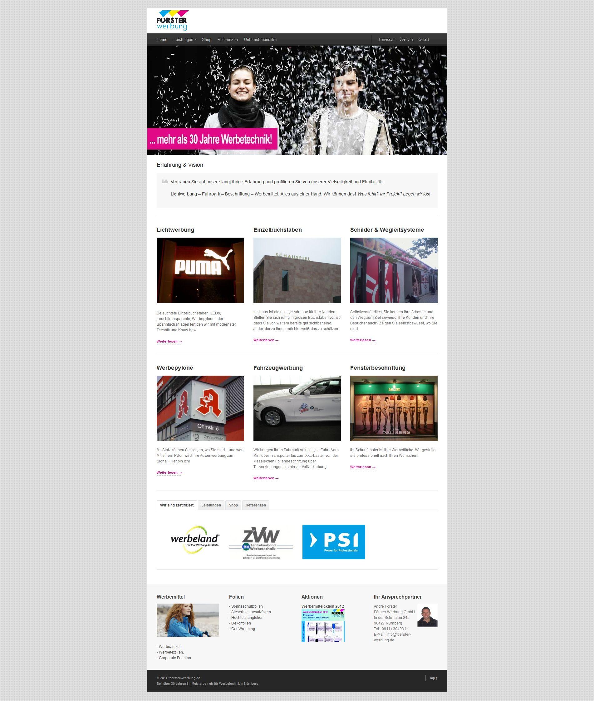 Foerster Werbung GmbH WordPress Webseite