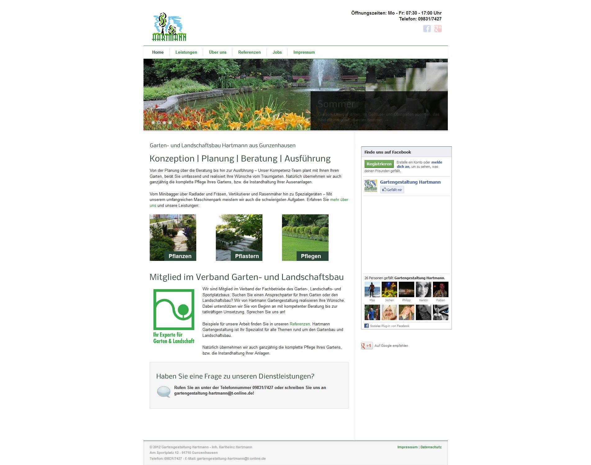 Hartmann Gartenpflege Unternehmenswebseite